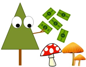 Tree distributing money to fungi